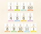 【うさぎ】マンスリーカード・月齢カード(裏面に毎月の成長記録が残せるカード)