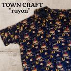 レーヨン タウンクラフト TOWN CRAFTネイビー アロハシャツ O9