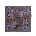 Merino Wool 'Uxbridge' blue black リング付きミニスカーフ