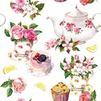 入荷しました|新入荷【Ambiente】バラ売り2枚 ランチサイズ ペーパーナプキン Flower in Teacup ホワイト