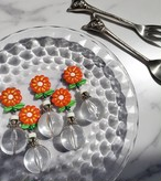 orange retro flower × silver × big clear beads