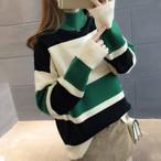 【tops】ニットセーター配色ストライプ柄ゆったり合わせやすいトップス