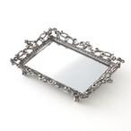 アンティーク 錫製 レクタングルミラートレイ 小物 アクセサリー ジュエリー 宝石 トレー 大人 おしゃれ かわいい