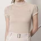Heart Neck See Through T-Shirt (Beige)