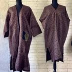 鮮やかなえんじ色と古風な格子柄 絹100%アンサンブル(コート&ワンピース) 20AS010