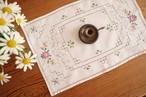 【ピンクローズ】ピンクの薔薇のクロスステッチ手刺繍 スクエア型テーブルマット/ヴィンテージ・ドイツ