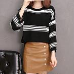 【tops】品のあるスタイルストライプ柄丸ネックセーター 24534667