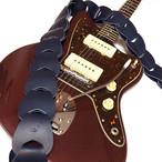 ウロコのようなギターストラップ【Folklore】グローブレザー仕様/ NAVY