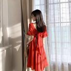 【dress】後ろリボン飾りスウィートバックレス白効かせフェミニンワンピース