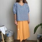 【新作10%off】back open plaid blouse 2565
