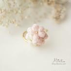 三つ花のシンプルリング(フリーサイズ)*刺繍糸のお花