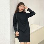【dress】ニットワンピース定番シンプルゆったりレディースワンピース
