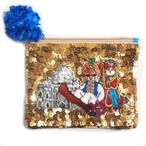 スパンコール刺繍ポーチMagical Carpet