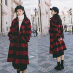 レッドチェック柄 長袖 ロング丈 コート