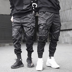 【ブラック/Mサイズ】カーゴパンツ ベイカーパンツ メンズ スリムフィット ウェストゴム ポケット カジュアル 紐通し 裾リブ
