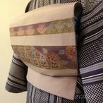 正絹紬 薄梅鼠色の袋帯