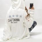 カリフォルニア デニム刺繍 スター星柄 ロゴ リブサーマル ZIPパーカー