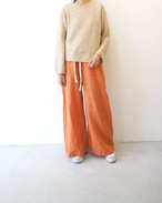 washed linen-weather wide leg trousersr / unfil