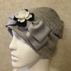 お花とパールのケア帽子 ライトグレー