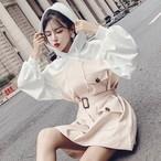 【送料無料】キレイめトレンチ風♡ ドッキングワンピース ミニ バルーン袖 フード付き
