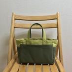 「ボックストート」 ミニサイズサイズ 「ヒワグリーン×オリーブ」帆布トートバッグ  倉敷帆布8号 和泉木綿