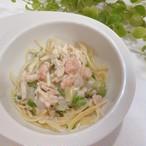 鮭と野菜のクリームパスタ