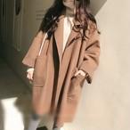 オーバーサイズ 無地 シンプル ウール コート 2色B4266
