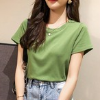 【tops】合わせやすい半袖コットン新品白効かせTシャツ