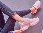 スニーカー 運動靴 90年代風 レトロ 2色 ピンク ミドルカット 滑り止め加工 22.5~25.0cm カジュアル スポーティー 足長効果  運動