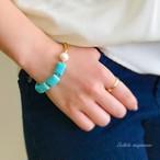 mint(ミント菓子) * ターコイズと大粒真珠のボリュームブレスレット