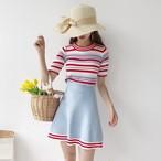 【新作10%off】striped knit set up 2403