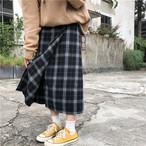 チェック柄 ロング丈 ウール スカート【1023】