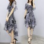 【dress】プリントエレガント一目惚れ2色ボウタイノーブルワンピース
