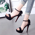 【shoes】ハイヒール高級感リボン付きサンダル26883269