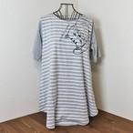 【猫のふくふく】ロールアップ AラインTシャツ(グレー)【肉球 猫柄 ネコ】