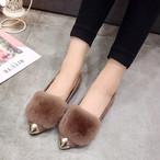 【shoes】激安通販中!暖かいファー付きフラットシューズ