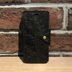 iPhone7 手帳型ケース ペイズリー BLACK
