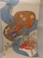 団扇日本刺繍の絽丸帯 Maru summer obi sash (fan)