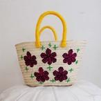 flower embroidered basket