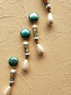 pearly green × colorful long beads × drop pearl  《再販なし》