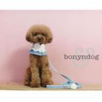 bonyndog製 かわいいスカイブルーカラーの首輪とリードのセット