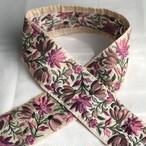 インド刺繍リボン バイオレット×きなり ins-0057bo