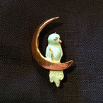 スペイン 50s ヴィンテージ  デッドストックブローチ blue bird on the moon