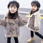 【子供服】ファッション切り替えスエードチェック柄ガールズコート・トップス24326735