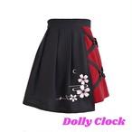 【8月上】和風:月/桜刺繍/丸カンプリーツスカート
