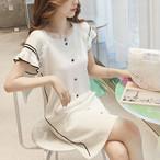 【dress】デートワンピース気質満点エレガントニットスリム半袖