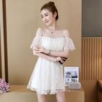 【dress】ワンピース着痩せ着心地いい肩出しレディースワンピース