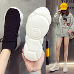 ソックススニーカー 韓国ファッション 厚底 靴下スニーカー スニーカー ソールにクマ インスタ映え レディース DCT-585609456034