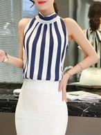 【tops】Fashion design stripe sleeveless vest