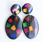 black & colorful dangle pierce[p-709] ヴィンテージピアス